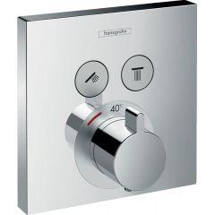 Bateria termostatyczna Hansgrohe ShowerSelect, montaż podtynkowy, dla 2 odbiorników, element zewnętrzny 15763000