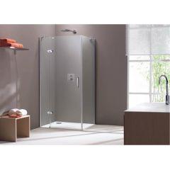 Ścianka boczna 90x190 cm Aura Elegance 4-kąt  Hüppe 400604.092.322 profil chrom eloxal  szkło transparent  Anti-Plaque