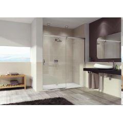 Drzwi prysznicowe rozsuwane 150x190 cm Aura Elegance GT Huppe 401507.087.322 profil srebrny matowy szkło transparent anti-plaque