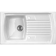 Zlewozmywak ceramiczny 1-komorowy Lusitano Deante ZCL 611N biały