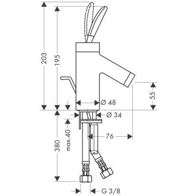 Bateria umywalkowa jednouchwytowa Axor Starck DN15 Hansgrohe 10015000 chrom