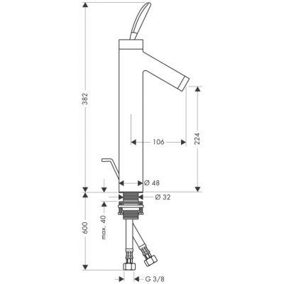 Bateria umywalkowa jednouchwytowa do misek umywalkowych Axor Starck DN15 Hansgrohe 10020000 chrom