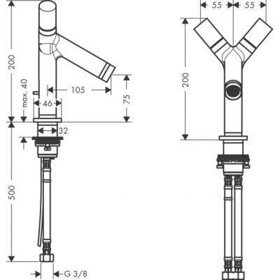 Dwuuchwytowa bateria umywalkowa ze stałą wylewką z automatycznym korkiem DN15 Hansgrohe Axor Starck 10030000
