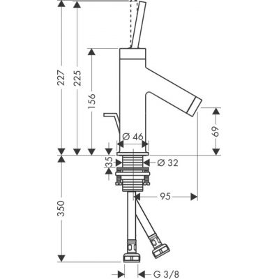 Bateria umywalkowa jednouchwytowa Axor Starck z uchwytem cylindrycznym do małych umywalek DN15 Hansgrohe 10116000 chrom