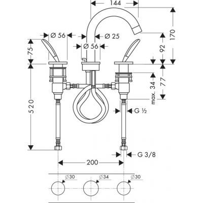 Bateria umywalkowa dwuuchwytowa DN15 Axor Starck Hansgrohe 10133000 chrom