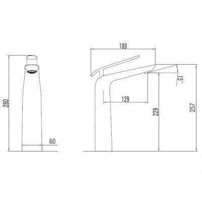 Bateria umywalkowa stojąca chrom EMIBUW050BC Art Platino Emira