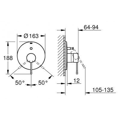 Bateria wannowo-prysznicowa podtynkowa 19285DC1 Grohe Essence