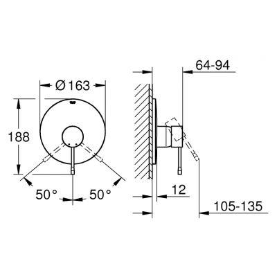 Bateria prysznicowa podtynkowa 19286DC1 Grohe Essence