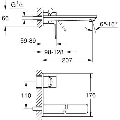 Bateria umywalkowa podtynkowa 23444001 Grohe Lineare