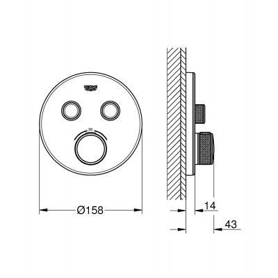 Bateria wannowo-prysznicowa podtynkowa 29151LS0 Grohe Grohtherm SmartControl