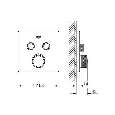 Bateria wannowo-prysznicowa podtynkowa 29156LS0 Grohe Grohtherm SmartControl