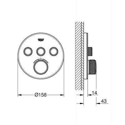 Bateria wannowo-prysznicowa podtynkowa 29904LS0 Grohe Grohtherm SmartControl