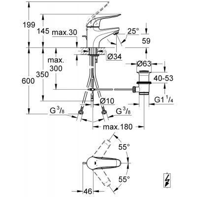 Bateria umywalkowa stojąca chrom 32764000 Grohe Euroeco Special