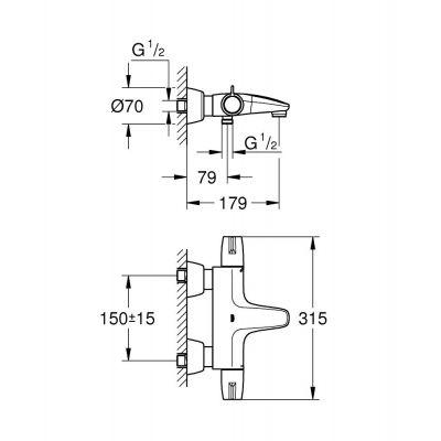 Bateria wannowo-prysznicowa 34665000 Grohe Grohtherm Special