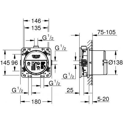 Element podtynkowy baterii 35600000 Grohe Rapido SmartBox