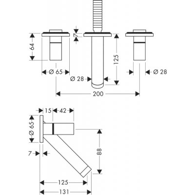 Bateria umywalkowa podtynkowa dwuuchwytowa DN15 Axor Starck Hansgrohe 10313000 chrom