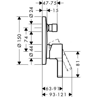 Bateria wannowo-prysznicowa podtynkowa 31466000 Hansgrohe Metris S