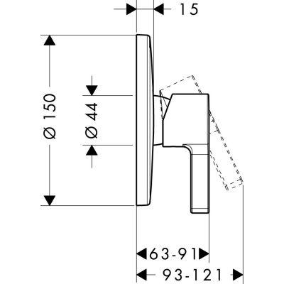 Bateria prysznicowa podtynkowa Metris S Hansgrohe 31665000 chrom