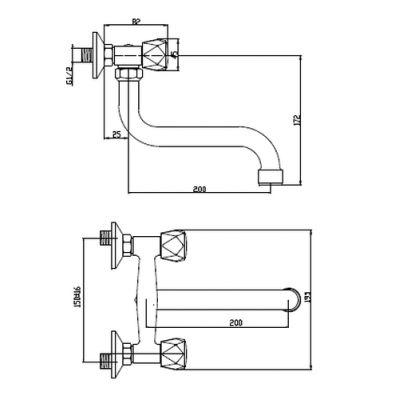 Bateria umywalkowa ścienna chrom BC11F0S Invena Modena