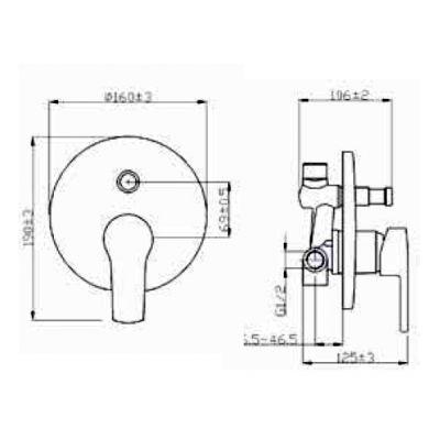 Bateria wannowo-prysznicowa podtynkowa BP82P01 Invena Verso