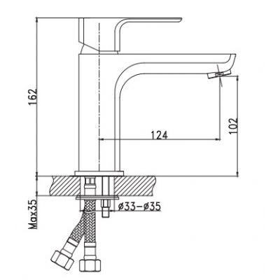 Bateria umywalkowa stojąca chrom BU28001 Invena Nyks