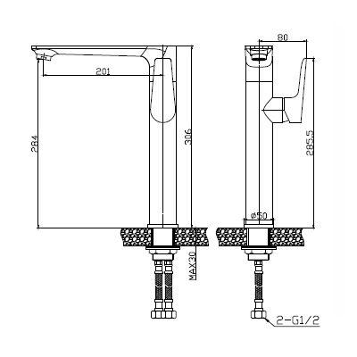Bateria umywalkowa stojąca BU19WB1 Invena Dokos