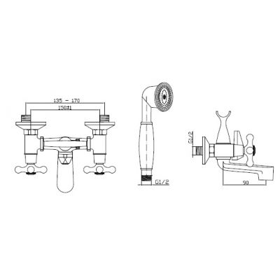 Bateria wannowo-prysznicowa BW2100S Invena Roma