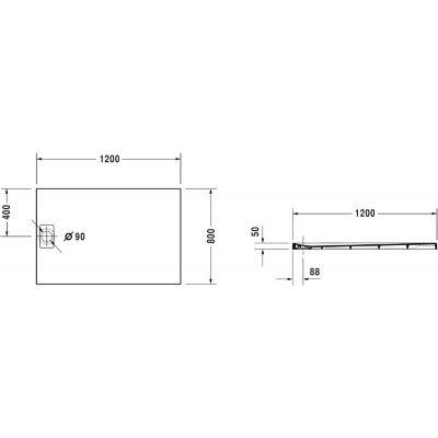 Brodzik prostokątny 120x80 cm 720148380000000 Duravit Stonetto