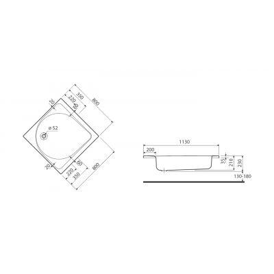 Brodzik kwadratowy 80x80x21 cm Głęboki Koło XBK0380