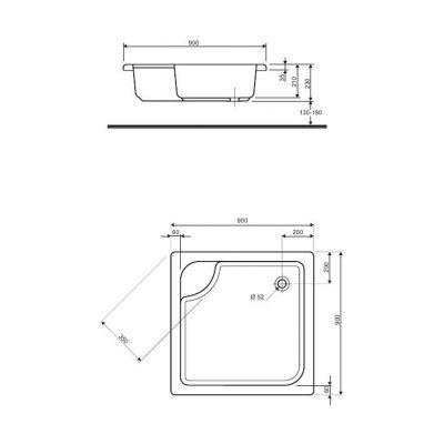 Brodzik kwadratowy 90x90x21 cm z siedziskiem Głęboki Koło XBK0390