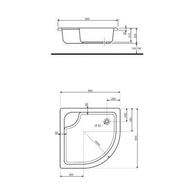 Brodzik półokrągły głęboki 90x90x21 cm Koło XBN0390
