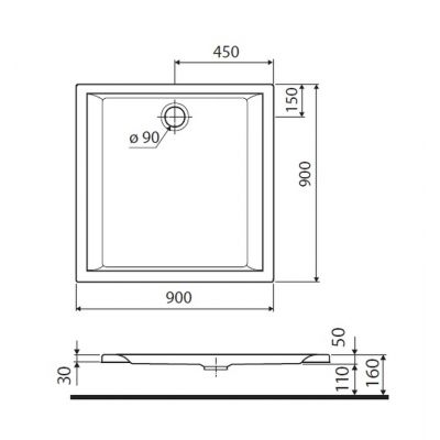 Brodzik kwadratowy 90x90x5 cm Pacyfik Koło XBK0790