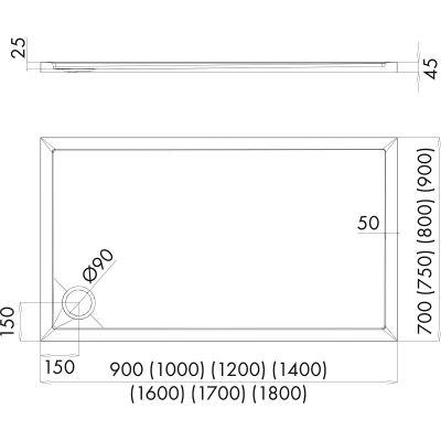 Brodzik prostokątny 120x70 cm 15001000 Oltens Superior