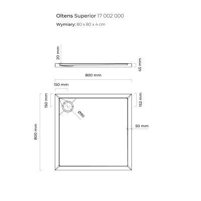Brodzik kwadratowy 80 17002000 Oltens Superior