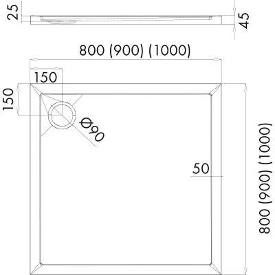 Brodzik kwadratowy 90 17001000 Oltens Superior