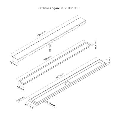 Odpływ prysznicowy 83 cm 30003000 Oltens Langan