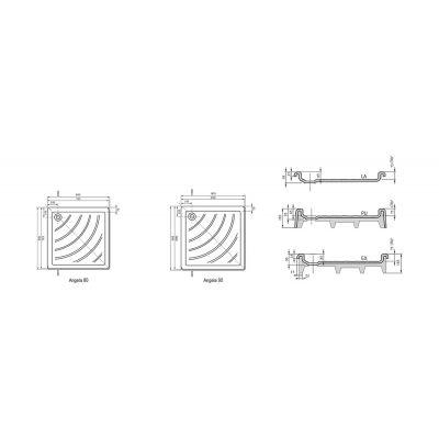 Brodzik kwadratowy 90x90x9 cm Angela EX Ravak A007701320