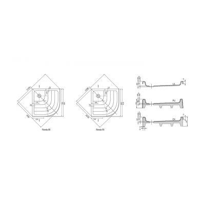 Brodzik półokrągły 80x80x9 cm PU Ronda Ravak A204001120