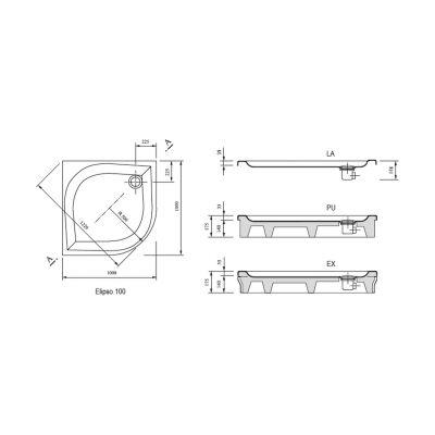 Brodzik półokrągły 100x100x5 cm Elipso PAN Ravak A22AA01410