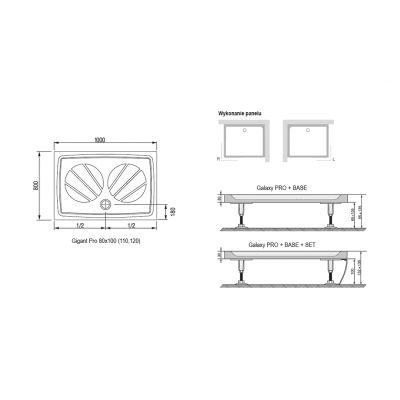 Brodzik prostokątny 110x80 cm Gigant Pro Ravak XA03D401010