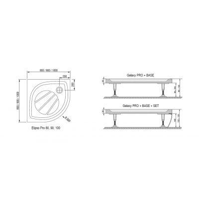 Brodzik półokrągły 90x90x1,5 cm Elipso Pro Ravak XA237701010
