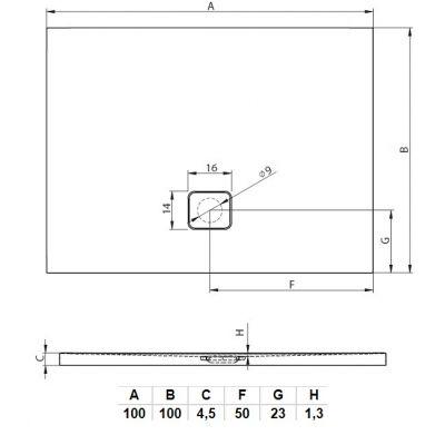 Brodzik kwadratowy 100 DC3416 Riho Basel