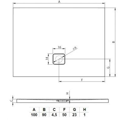 Brodzik prostokątny 100x90 cm DC2417 Riho Basel