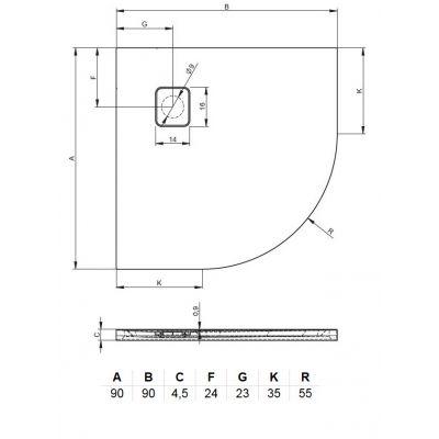 Brodzik półokrągły 90x90 cm DC9816 Riho Basel