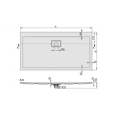 Brodzik prostokątny 140x80 cm 615110026001002 Sanplast Space Line