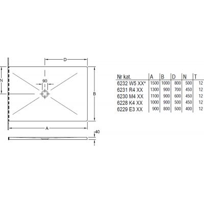 Brodzik prostokątny 110x90 cm 6230M401 Villeroy & Boch Subway Infinity