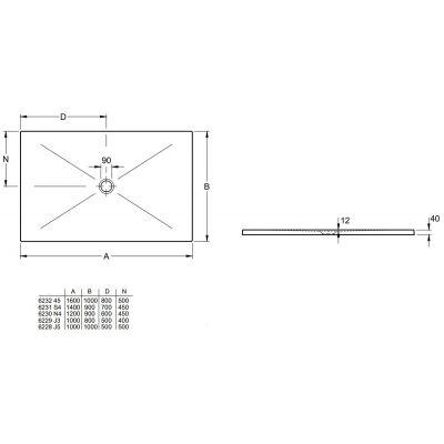 Brodzik kwadratowy 100 6228J501 Villeroy & Boch Subway Infinity