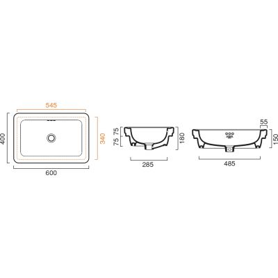 Umywalka prostokątna 60x40 cm 160ACV00 Catalano Canova Royal