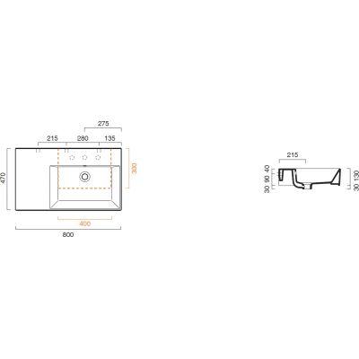 Umywalka prostokątna 80x47 cm 180DVP00 Catalano Premium