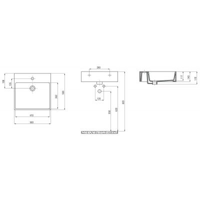 Umywalka kwadratowa 50x50 cm CDT6U5S Deante Temisto